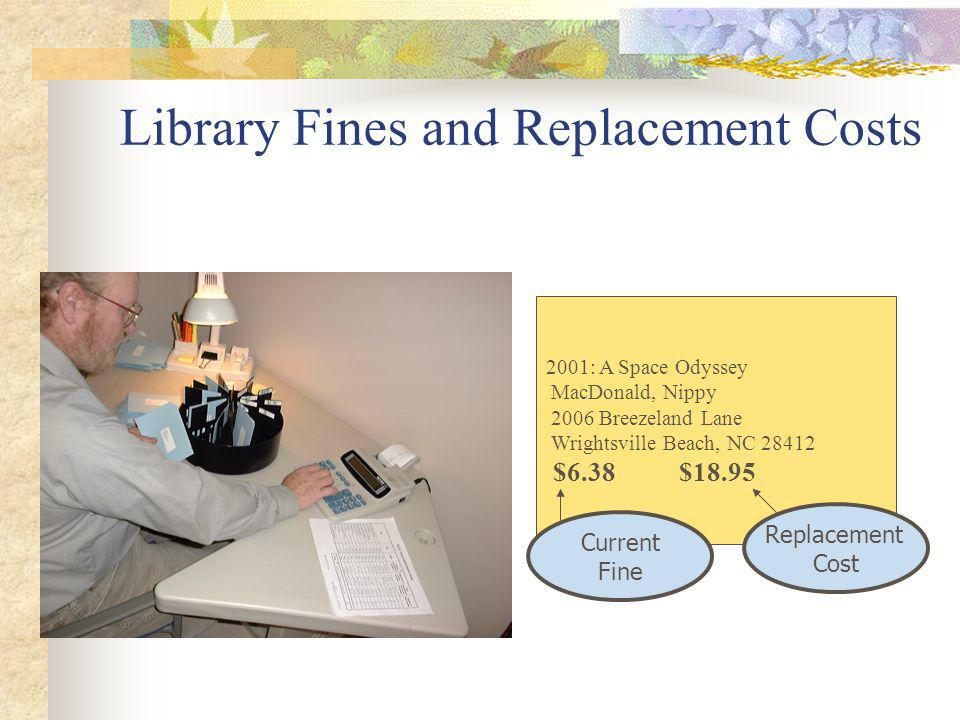 Library Fines and Replacement Costs 2001: A Space Odyssey MacDonald, Nippy 2006 Breezeland Lane Wrightsville Beach, NC 28412 $6.38 $18.95 Current Fine Replacement Cost