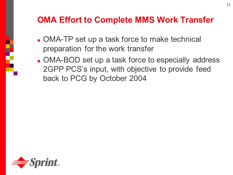 11 OMA Effort to Complete MMS Work Transfer OMA-TP set up a task force to make technical preparation for the work transfer OMA-BOD set up a task force
