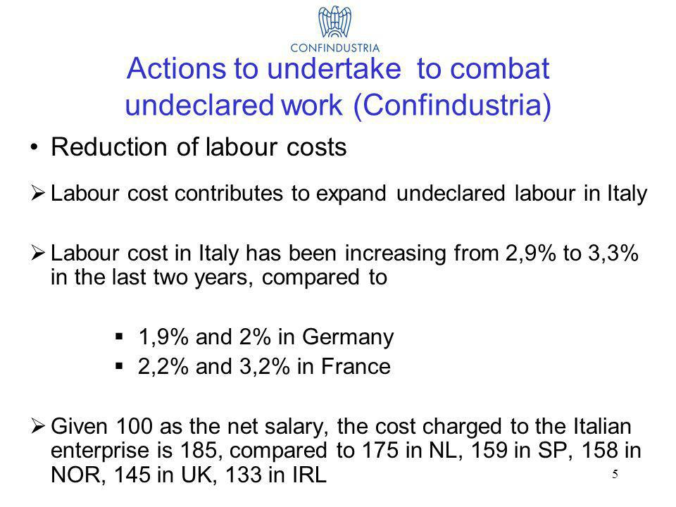 5 Actions to undertake to combat undeclared work (Confindustria) Reduction of labour costs Labour cost contributes to expand undeclared labour in Italy Labour cost in Italy has been increasing from 2,9% to 3,3% in the last two years, compared to 1,9% and 2% in Germany 2,2% and 3,2% in France Given 100 as the net salary, the cost charged to the Italian enterprise is 185, compared to 175 in NL, 159 in SP, 158 in NOR, 145 in UK, 133 in IRL