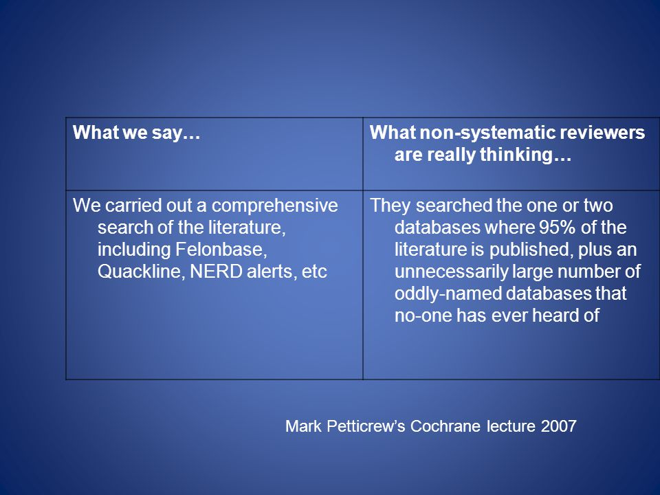 What we say…What non-systematic reviewers are really thinking… We carried out a comprehensive search of the literature, including Felonbase, Quackline, NERD alerts, etc They searched the one or two databases where 95% of the literature is published, plus an unnecessarily large number of oddly-named databases that no-one has ever heard of Mark Petticrews Cochrane lecture 2007