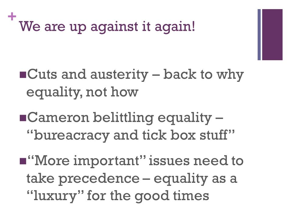 + We are up against it again! Cuts and austerity – back to why equality, not how Cameron belittling equality – bureacracy and tick box stuff More impo