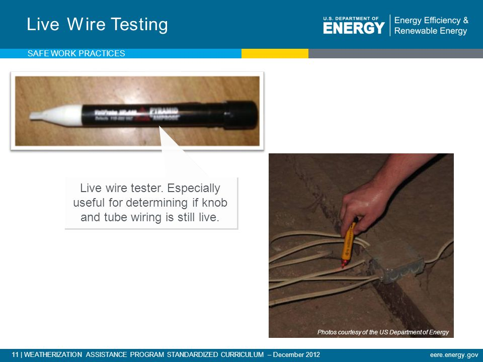 11 | WEATHERIZATION ASSISTANCE PROGRAM STANDARDIZED CURRICULUM – December 2012eere.energy.gov Live Wire Testing Live wire tester.