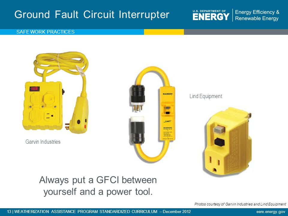 13 | WEATHERIZATION ASSISTANCE PROGRAM STANDARDIZED CURRICULUM – December 2012eere.energy.gov Ground Fault Circuit Interrupter Always put a GFCI between yourself and a power tool.