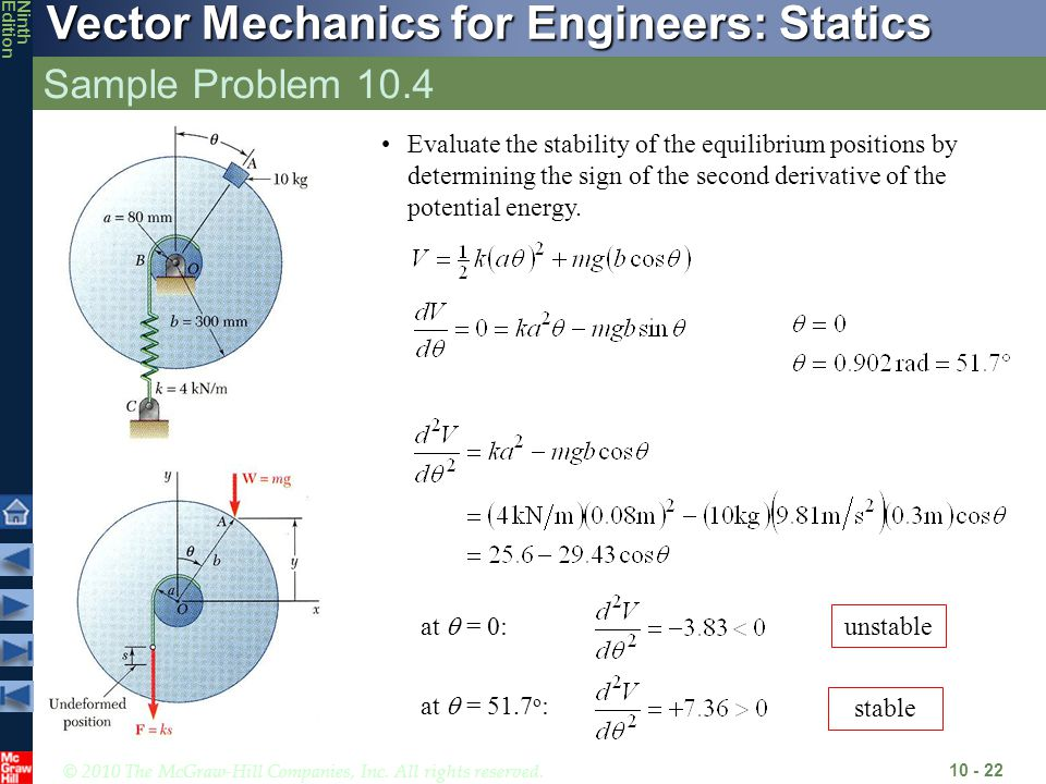 © 2010 The McGraw-Hill Companies, Inc. All rights reserved. Vector Mechanics for Engineers: Statics NinthEdition Sample Problem 10.4 10 - 22 Evaluate