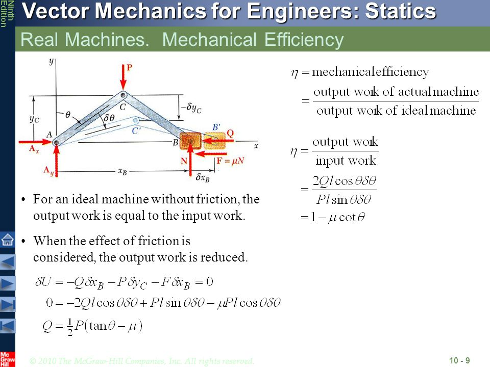© 2010 The McGraw-Hill Companies, Inc. All rights reserved. Vector Mechanics for Engineers: Statics NinthEdition Real Machines. Mechanical Efficiency