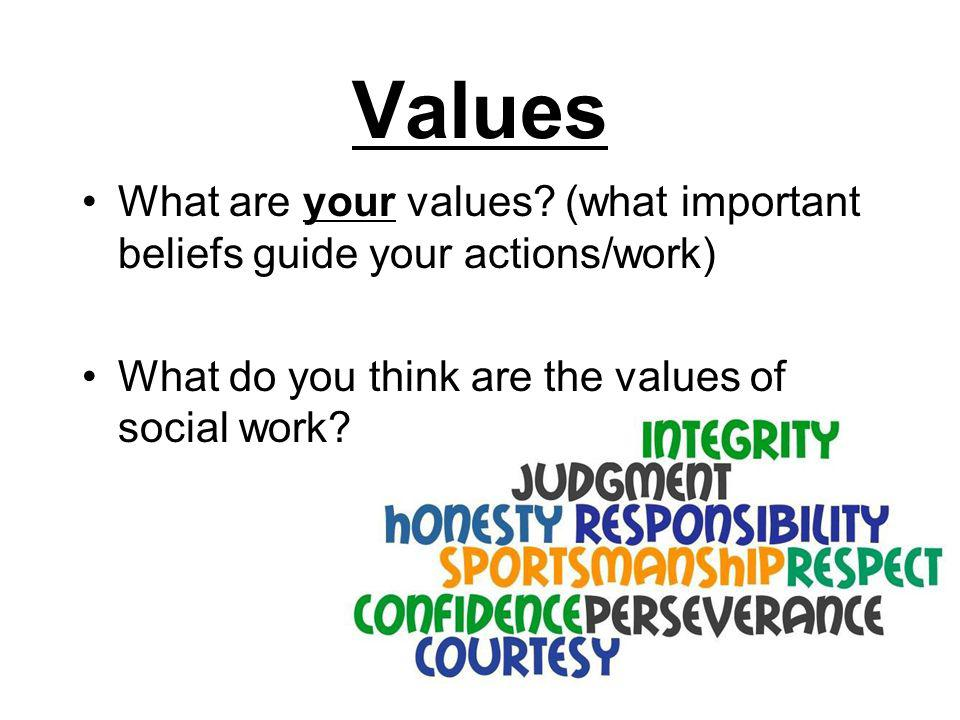 Values What are your values? (what important beliefs guide your actions/work) What do you think are the values of social work?
