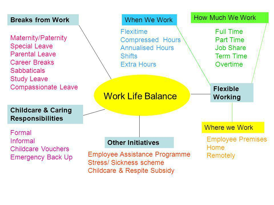 Work Life Balance Flexible Working When We Work How Much We Work Where we Work Other Initiatives Childcare & Caring Responsibilities Breaks from Work Full Time Part Time Job Share Term Time Overtime Flexitime Compressed Hours Annualised Hours Shifts Extra Hours Employee Premises Home Remotely Maternity/Paternity Special Leave Parental Leave Career Breaks Sabbaticals Study Leave Compassionate Leave Formal Informal Childcare Vouchers Emergency Back Up Employee Assistance Programme Stress/ Sickness scheme Childcare & Respite Subsidy