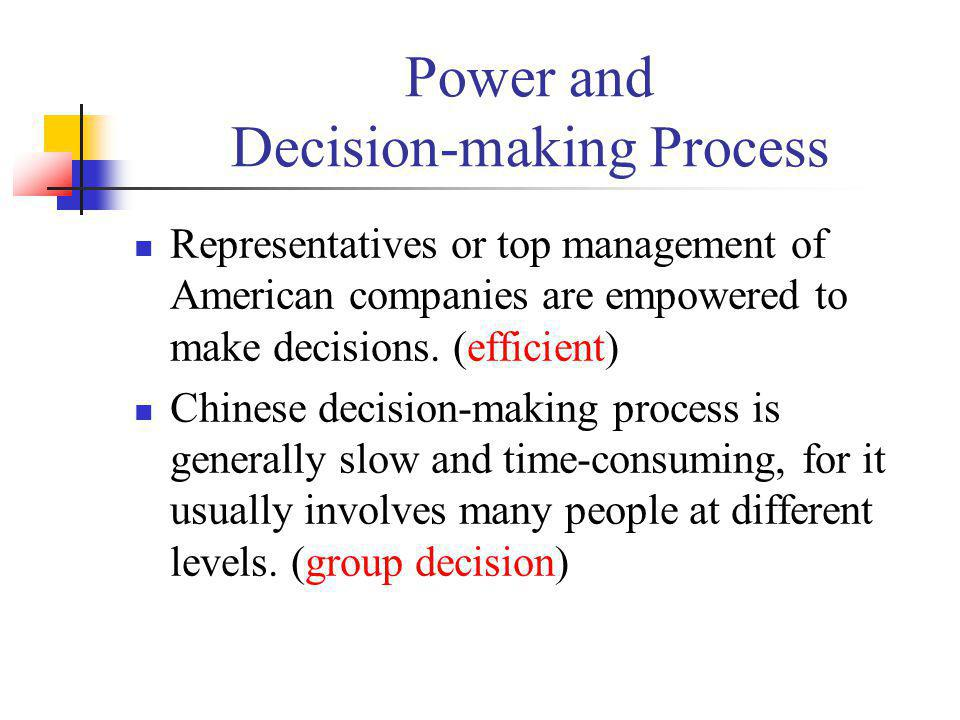 Power and Decision-making Process Representatives or top management of American companies are empowered to make decisions. (efficient) Chinese decisio