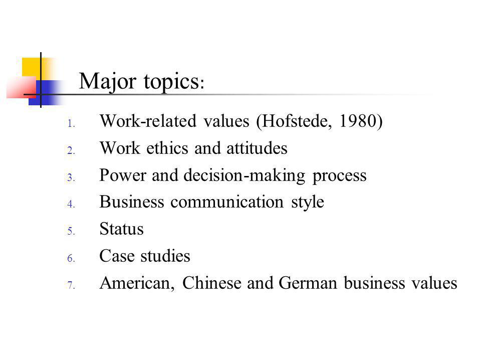 Hofstedes Work-related Value Dimensions Cultural consequences: International differences in work-related values (1980) Large or small power distances Individualism or collectivism Masculinity or femininity Strong or weak uncertainty avoidance