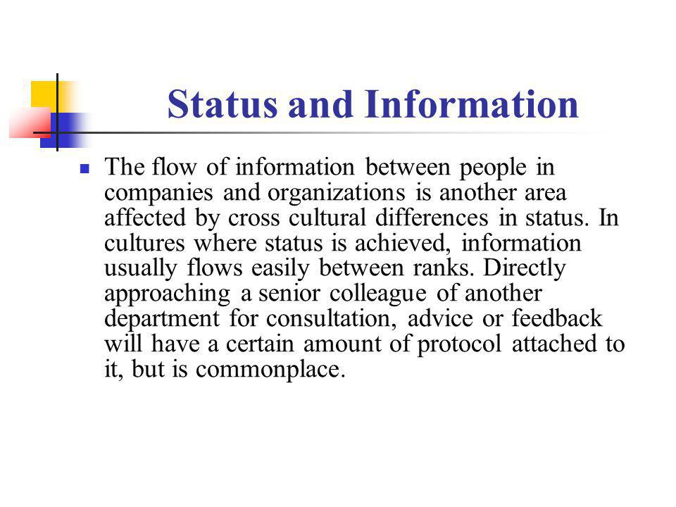 Status and Information The flow of information between people in companies and organizations is another area affected by cross cultural differences in