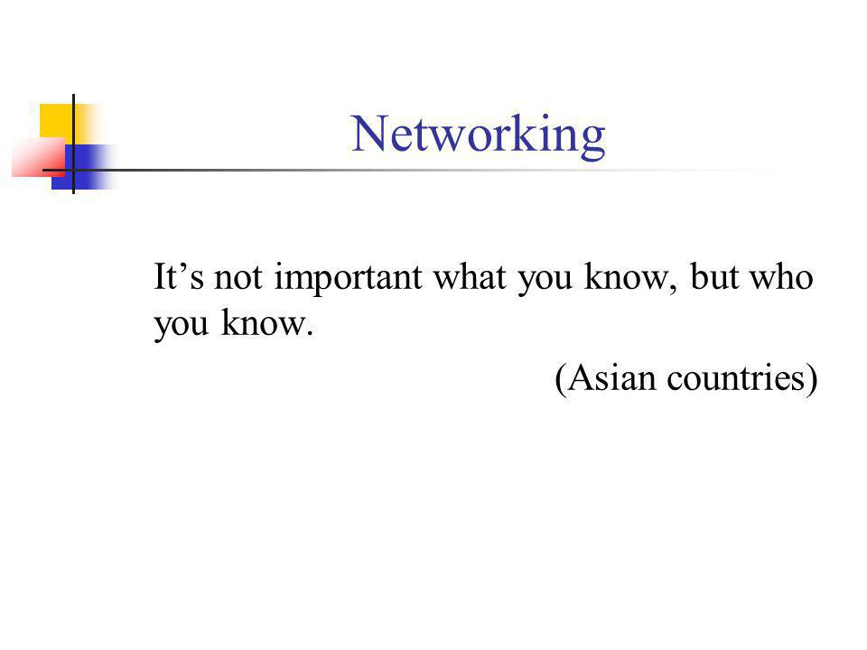 Networking Its not important what you know, but who you know. (Asian countries)