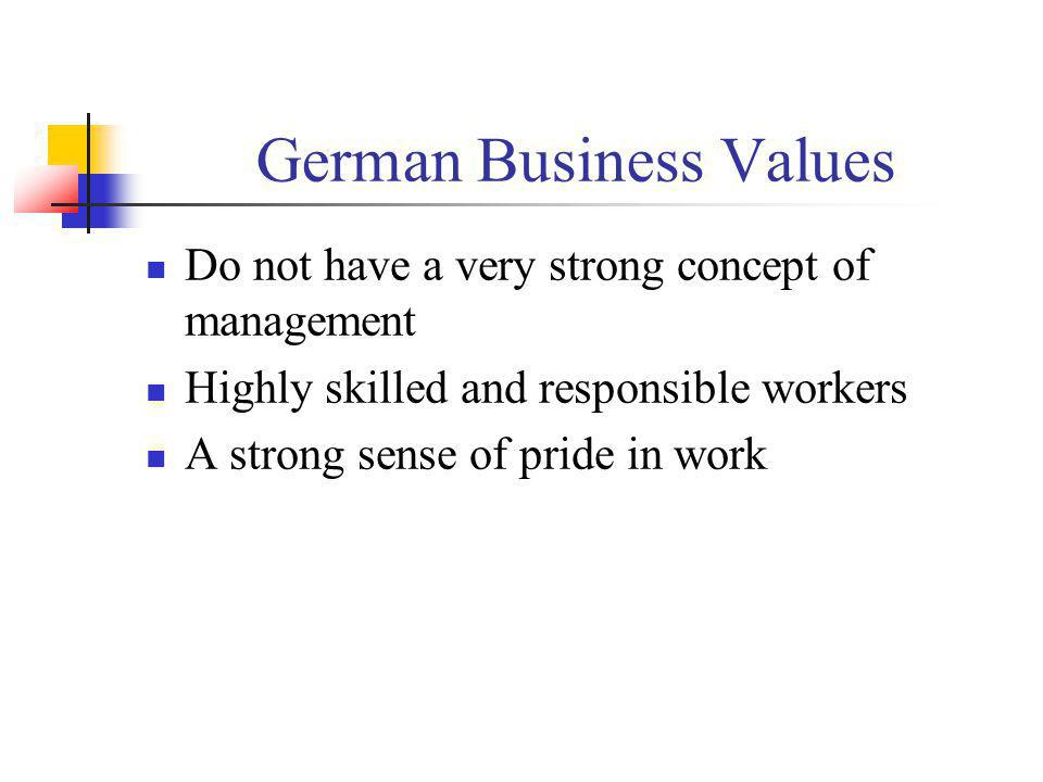 German Business Values Do not have a very strong concept of management Highly skilled and responsible workers A strong sense of pride in work
