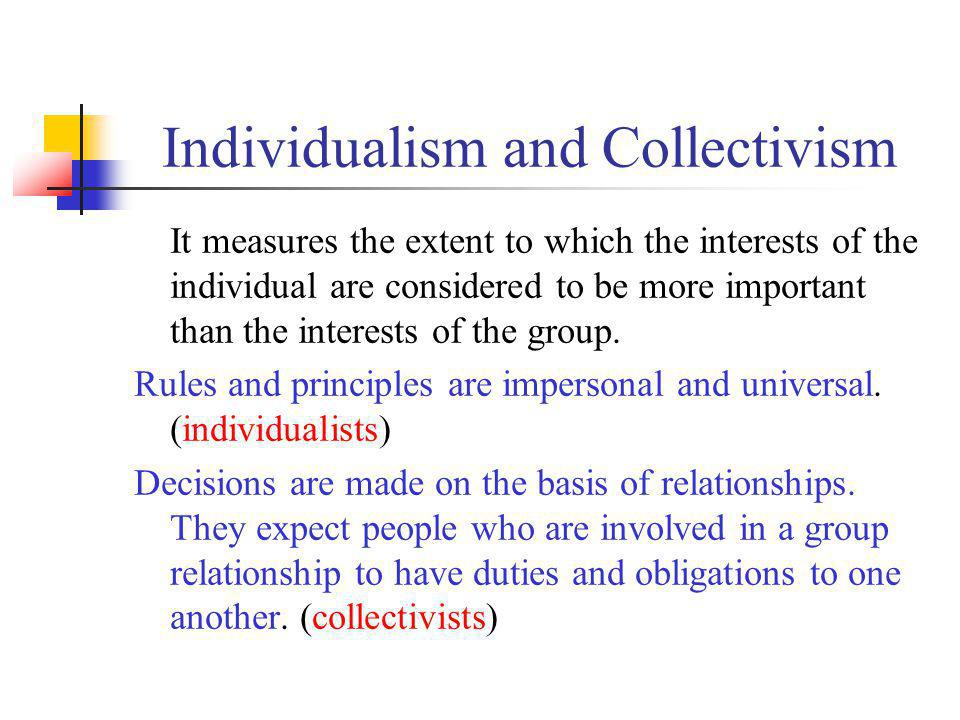 Individualism and Collectivism It measures the extent to which the interests of the individual are considered to be more important than the interests