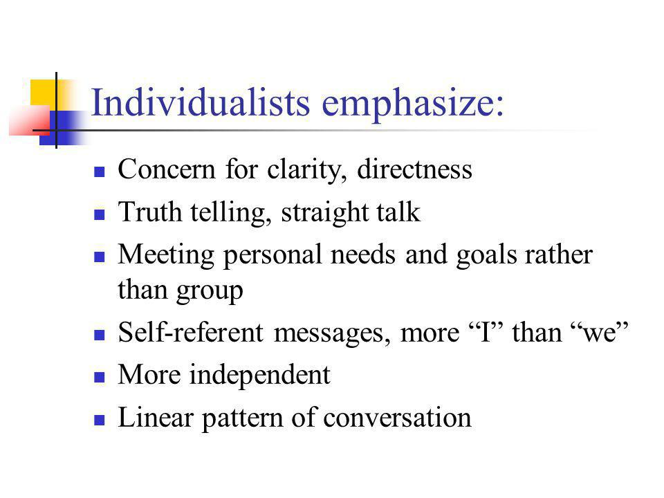 Collectivist emphasize: Indirect communication Concern for others feelings, avoiding hurting others, saving face Avoiding negative evaluation from a hearer Less goal direction More interdependent, group concerned Fewer linear patterns of conversation