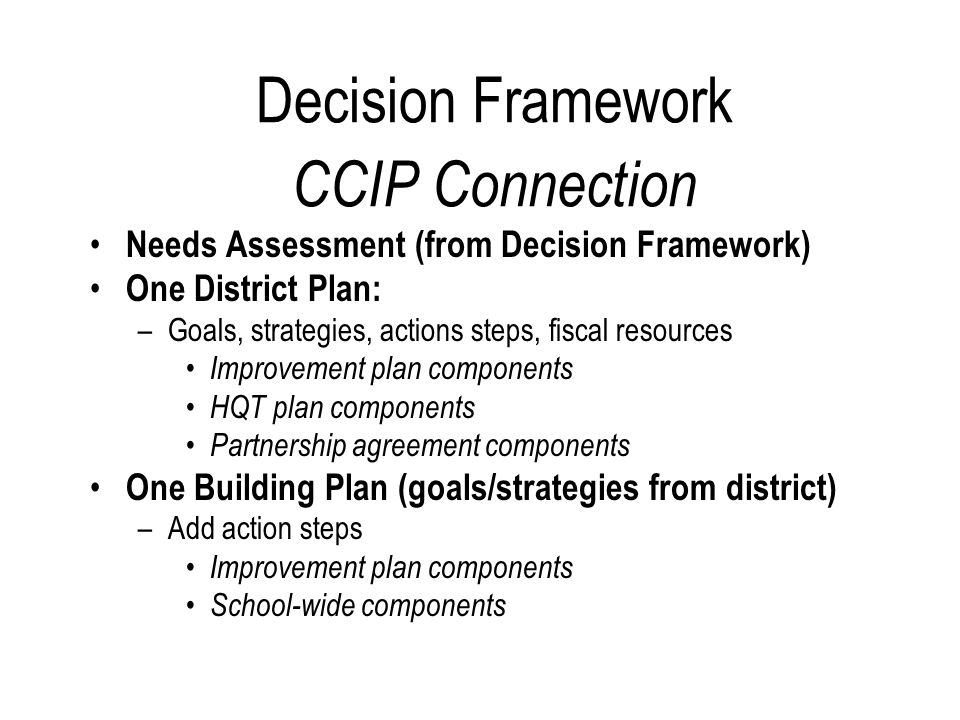 Decision Framework CCIP Connection Needs Assessment (from Decision Framework) One District Plan: –Goals, strategies, actions steps, fiscal resources Improvement plan components HQT plan components Partnership agreement components One Building Plan (goals/strategies from district) –Add action steps Improvement plan components School-wide components