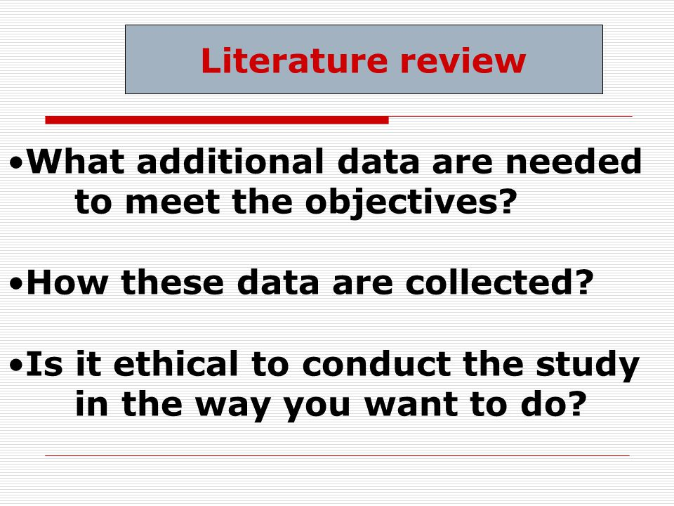 What additional data are needed to meet the objectives.