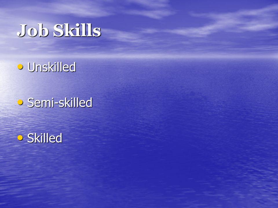 Job Skills Unskilled Unskilled Semi-skilled Semi-skilled Skilled Skilled