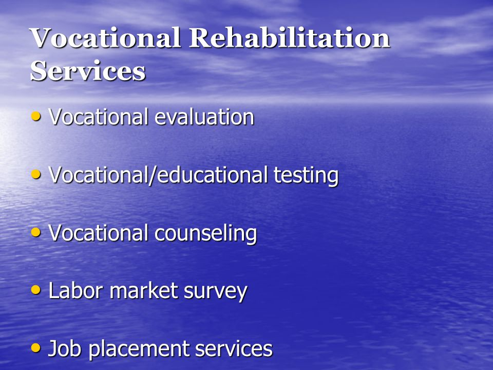 Vocational Rehabilitation Services Vocational evaluation Vocational evaluation Vocational/educational testing Vocational/educational testing Vocationa