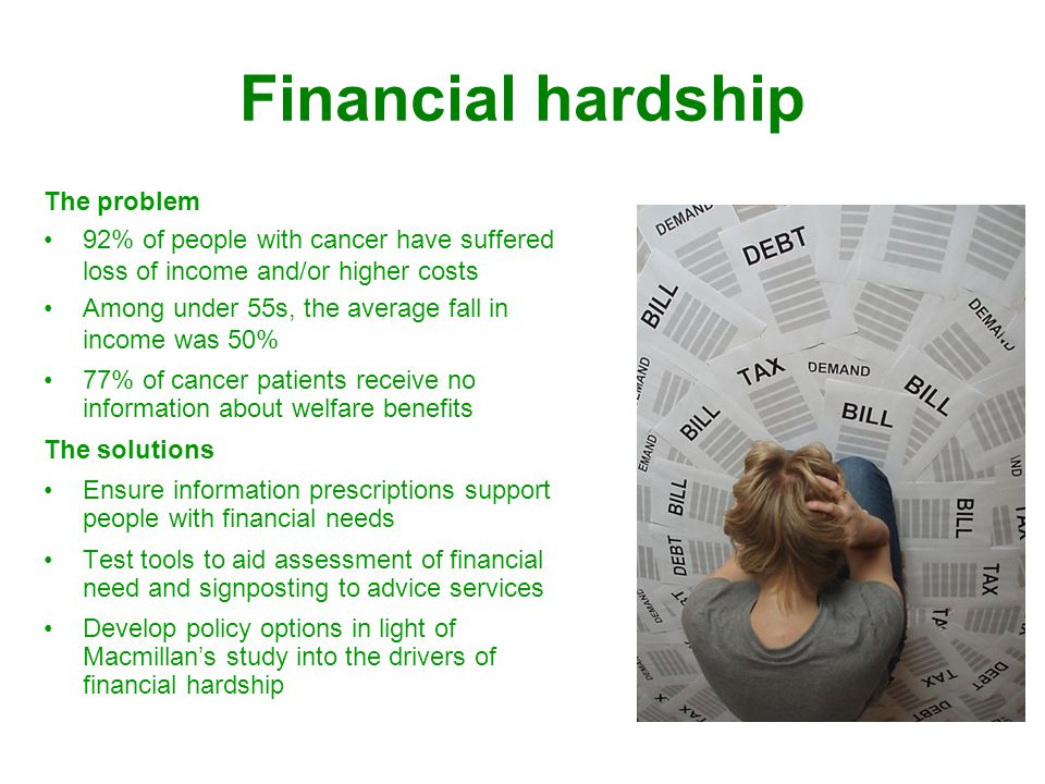 Financial hardship The problem 92% of people with cancer have suffered loss of income and/or higher costs Among under 55s, the average fall in income was 50% 77% of cancer patients receive no information about welfare benefits The solutions Ensure information prescriptions support people with financial needs Test tools to aid assessment of financial need and signposting to advice services Develop policy options in light of Macmillans study into the drivers of financial hardship