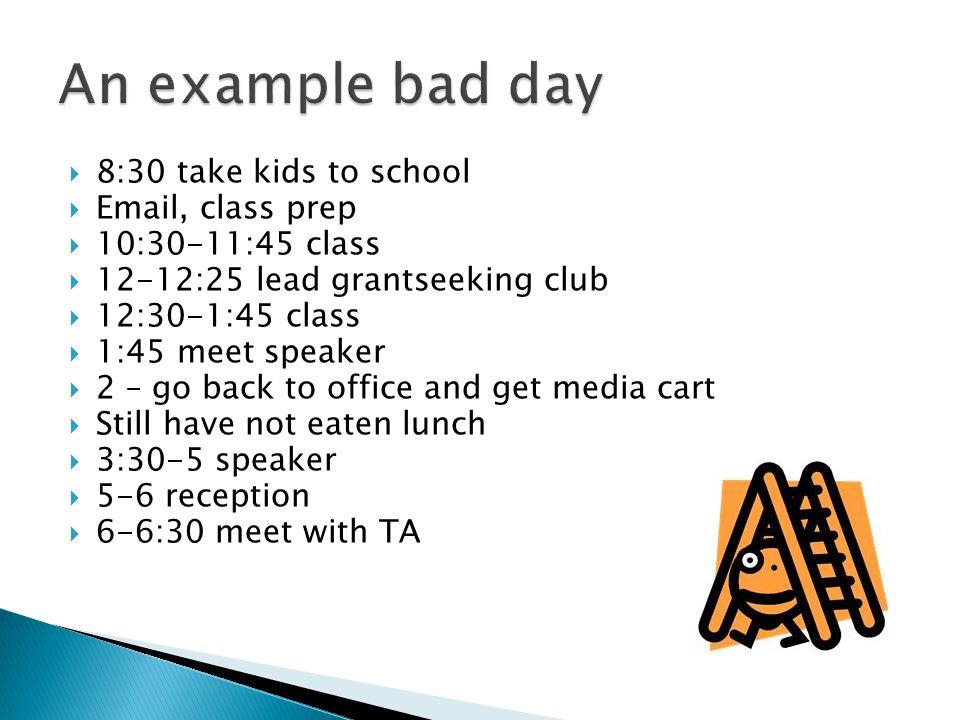8:30 take kids to school Email, class prep 10:30-11:45 class 12-12:25 lead grantseeking club 12:30-1:45 class 1:45 meet speaker 2 – go back to office and get media cart Still have not eaten lunch 3:30-5 speaker 5-6 reception 6-6:30 meet with TA