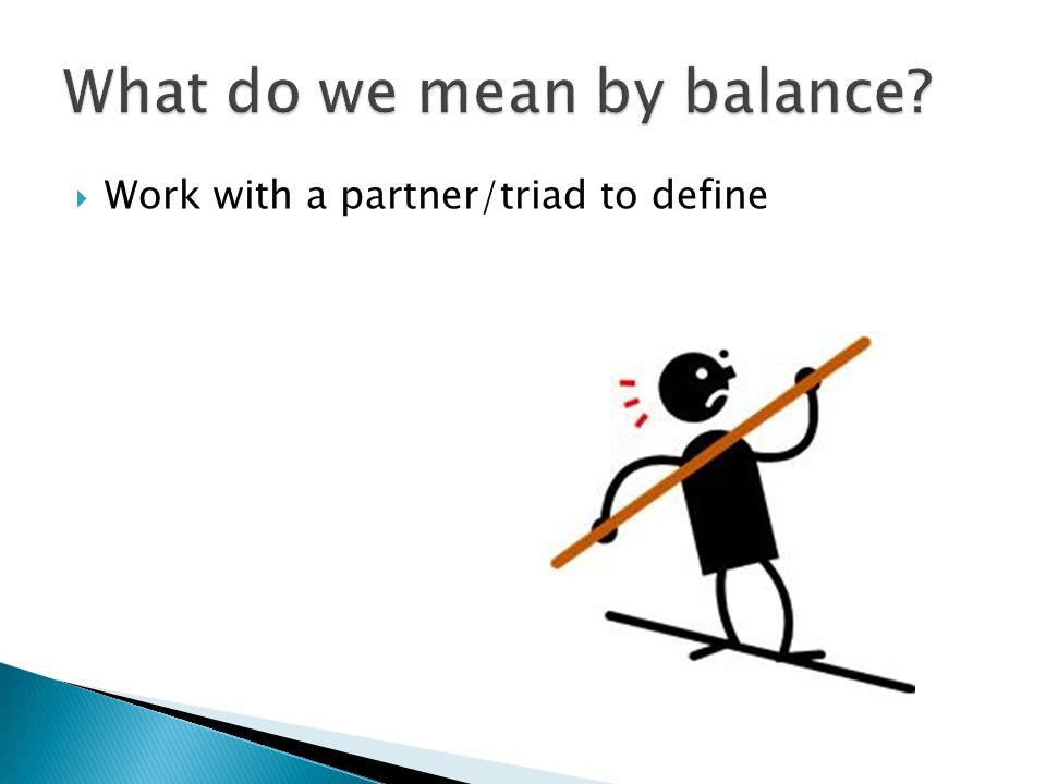 Work with a partner/triad to define