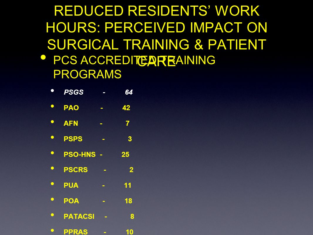 REDUCED RESIDENTS WORK HOURS: PERCEIVED IMPACT ON SURGICAL TRAINING & PATIENT CARE PCS ACCREDITED TRAINING PROGRAMS PSGS - 64 PAO - 42 AFN - 7 PSPS -