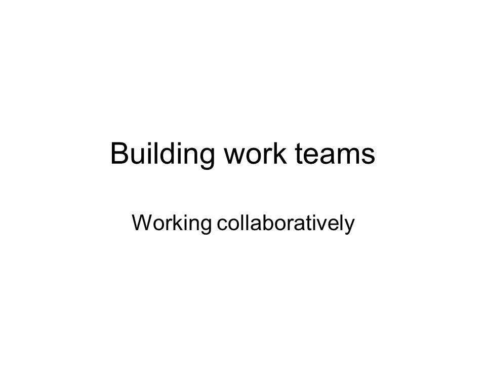 Building work teams Working collaboratively