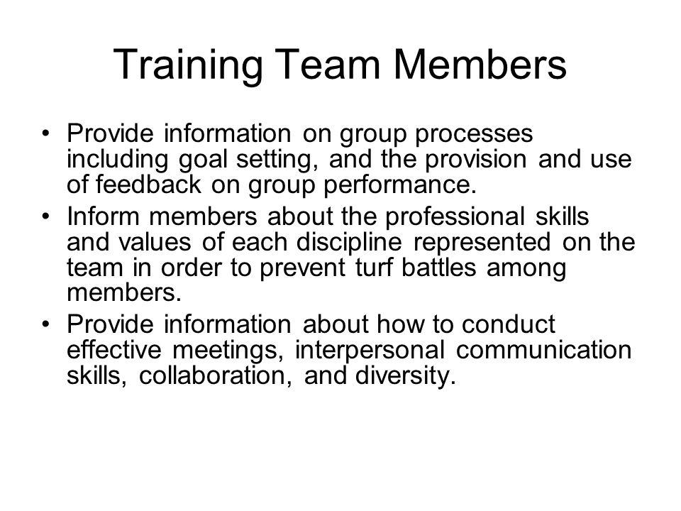 Training Team Members Provide information on group processes including goal setting, and the provision and use of feedback on group performance.