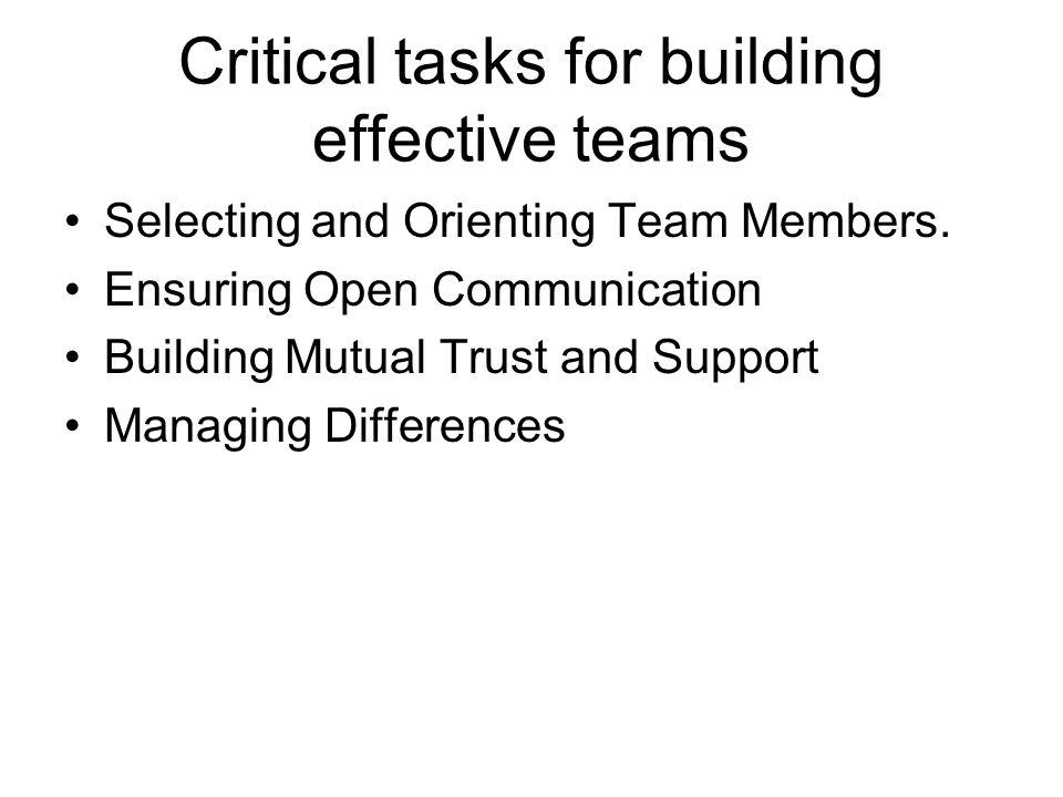 Critical tasks for building effective teams Selecting and Orienting Team Members.