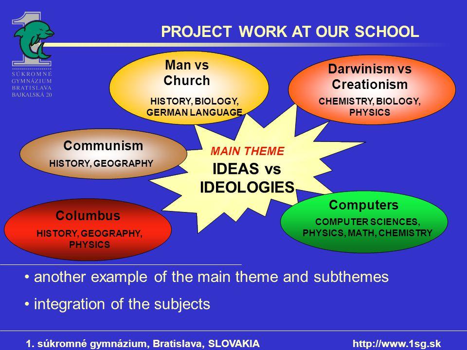 PROJECT WORK AT OUR SCHOOL 1. súkromné gymnázium, Bratislava, SLOVAKIAhttp://www.1sg.sk MAIN THEME IDEAS vs IDEOLOGIES HISTORY, BIOLOGY, GERMAN LANGUA