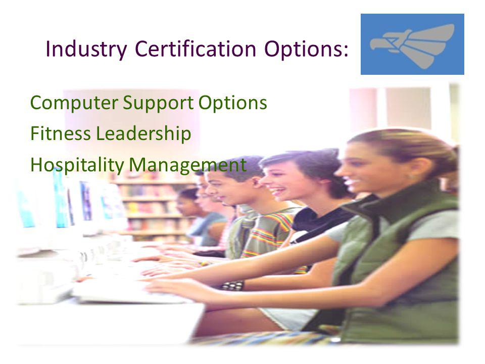 Industry Certification Options: Computer Support Options Fitness Leadership Hospitality Management