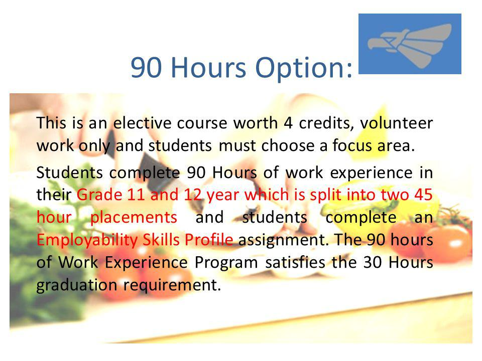 90 Hours Option: This is an elective course worth 4 credits, volunteer work only and students must choose a focus area.