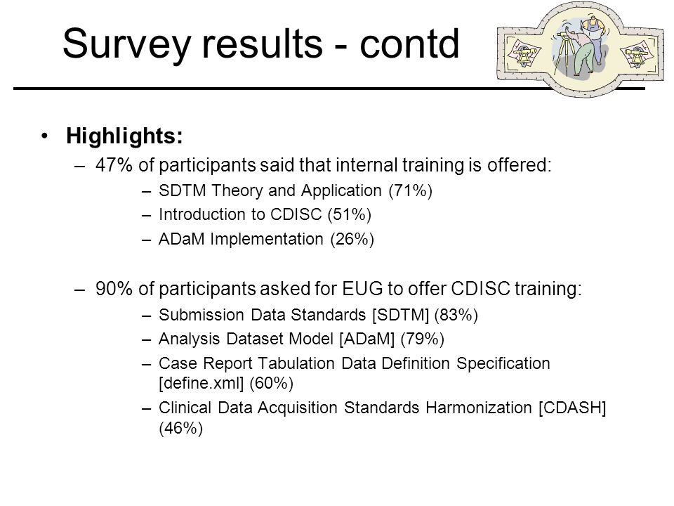 Survey results - contd Highlights: –47% of participants said that internal training is offered: –SDTM Theory and Application (71%) –Introduction to CDISC (51%) –ADaM Implementation (26%) –90% of participants asked for EUG to offer CDISC training: –Submission Data Standards [SDTM] (83%) –Analysis Dataset Model [ADaM] (79%) –Case Report Tabulation Data Definition Specification [define.xml] (60%) –Clinical Data Acquisition Standards Harmonization [CDASH] (46%)