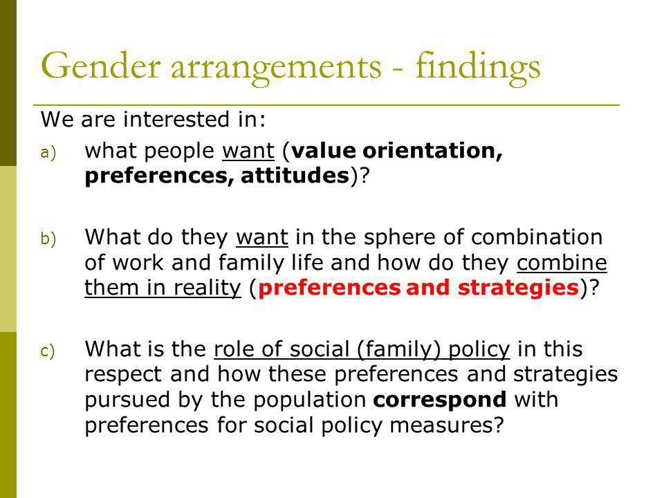 Gender arrangements - findings We are interested in: a) what people want (value orientation, preferences, attitudes)? b) What do they want in the sphe