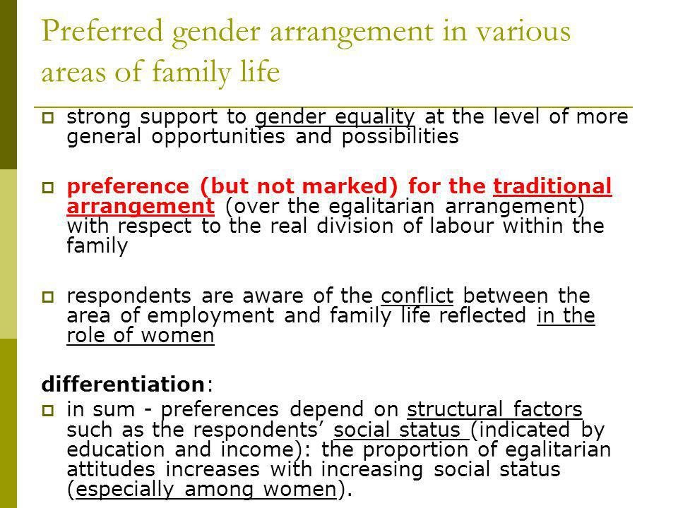 Preferred gender arrangement in various areas of family life strong support to gender equality at the level of more general opportunities and possibil