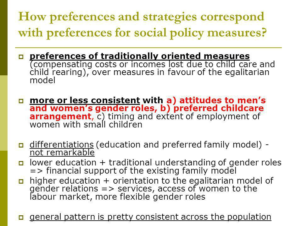 How preferences and strategies correspond with preferences for social policy measures? preferences of traditionally oriented measures (compensating co