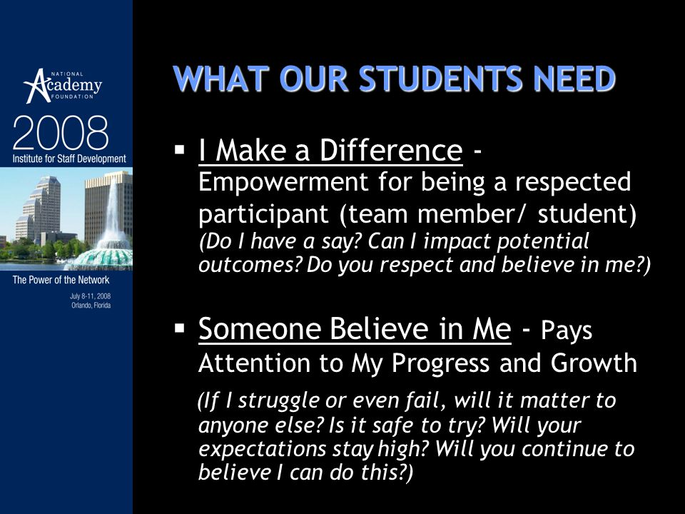 WHAT OUR STUDENTS NEED I Make a Difference - Empowerment for being a respected participant (team member/ student) (Do I have a say.