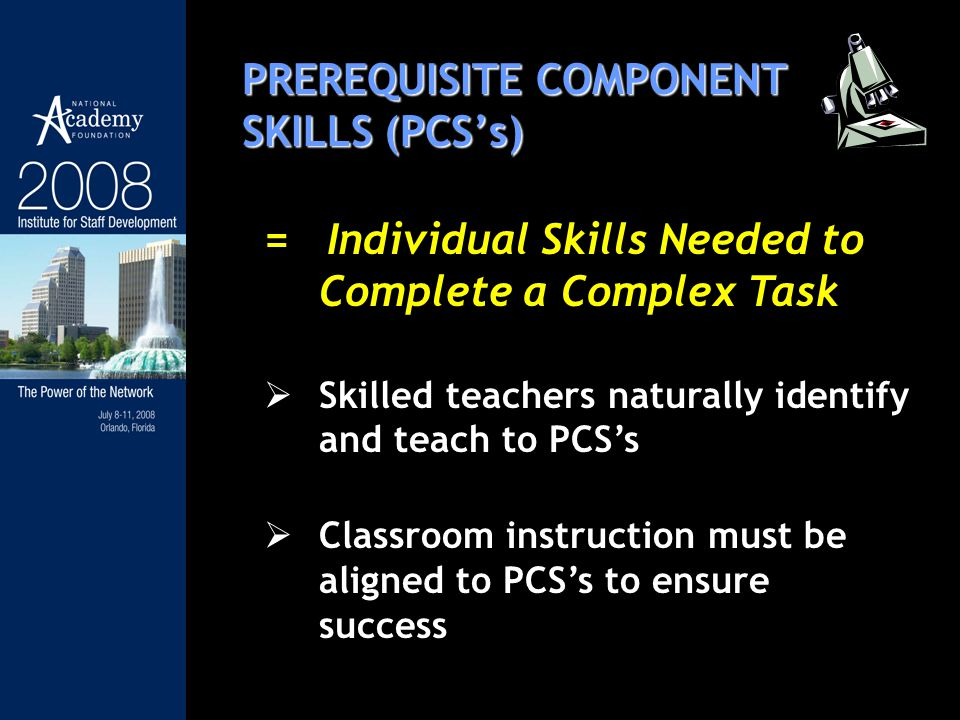 PREREQUISITE COMPONENT SKILLS (PCSs) = Individual Skills Needed to Complete a Complex Task Skilled teachers naturally identify and teach to PCSs Classroom instruction must be aligned to PCSs to ensure success