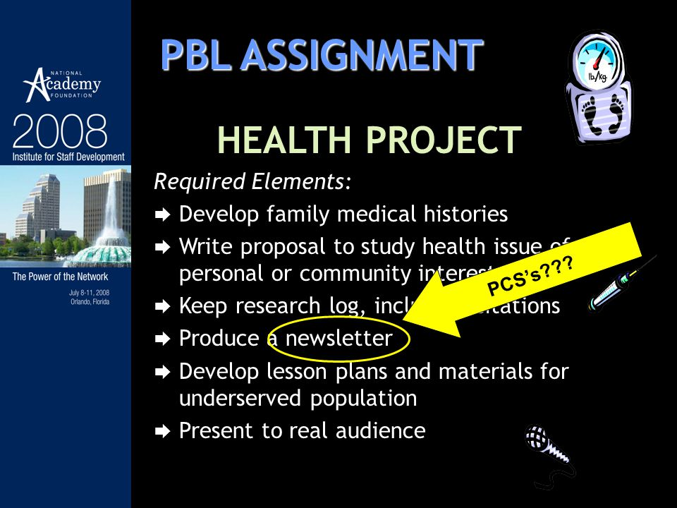 PBL ASSIGNMENT HEALTH PROJECT Required Elements: Develop family medical histories Write proposal to study health issue of personal or community intere
