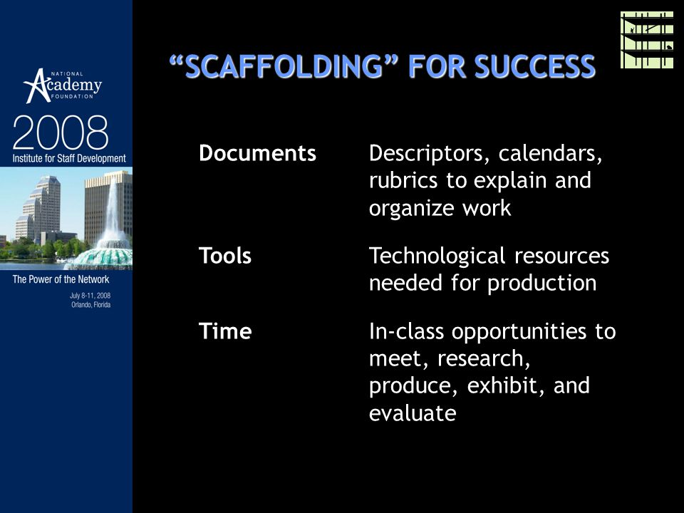 SCAFFOLDING FOR SUCCESS DocumentsDescriptors, calendars, rubrics to explain and organize work ToolsTechnological resources needed for production TimeIn-class opportunities to meet, research, produce, exhibit, and evaluate