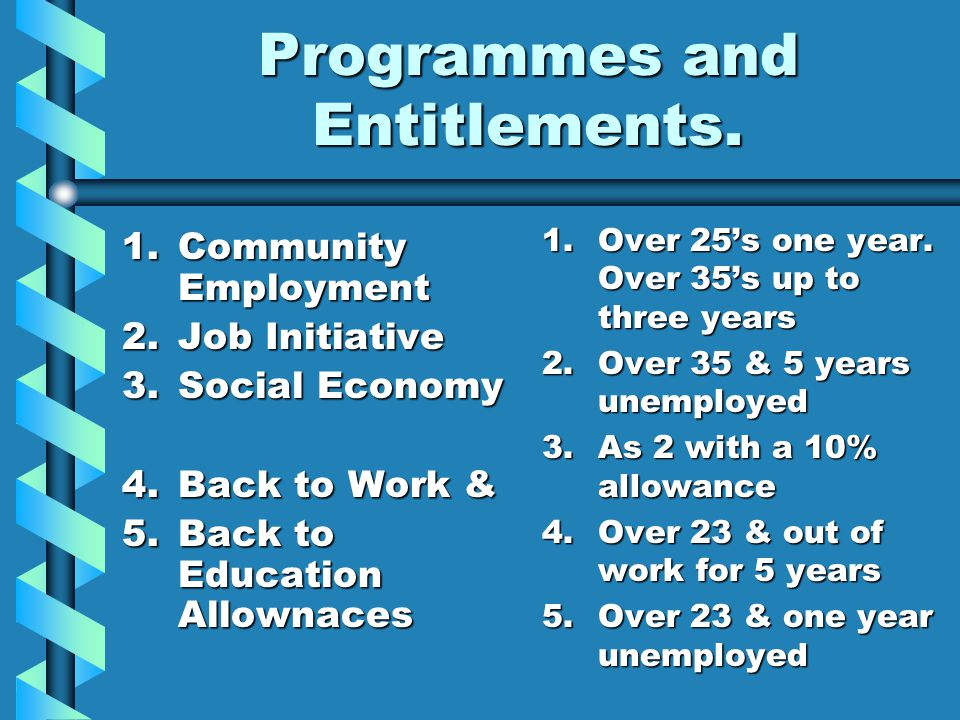 Programmes and Entitlements. 1.Community Employment 2.Job Initiative 3.Social Economy 4.Back to Work & 5.Back to Education Allownaces 1.Over 25s one y