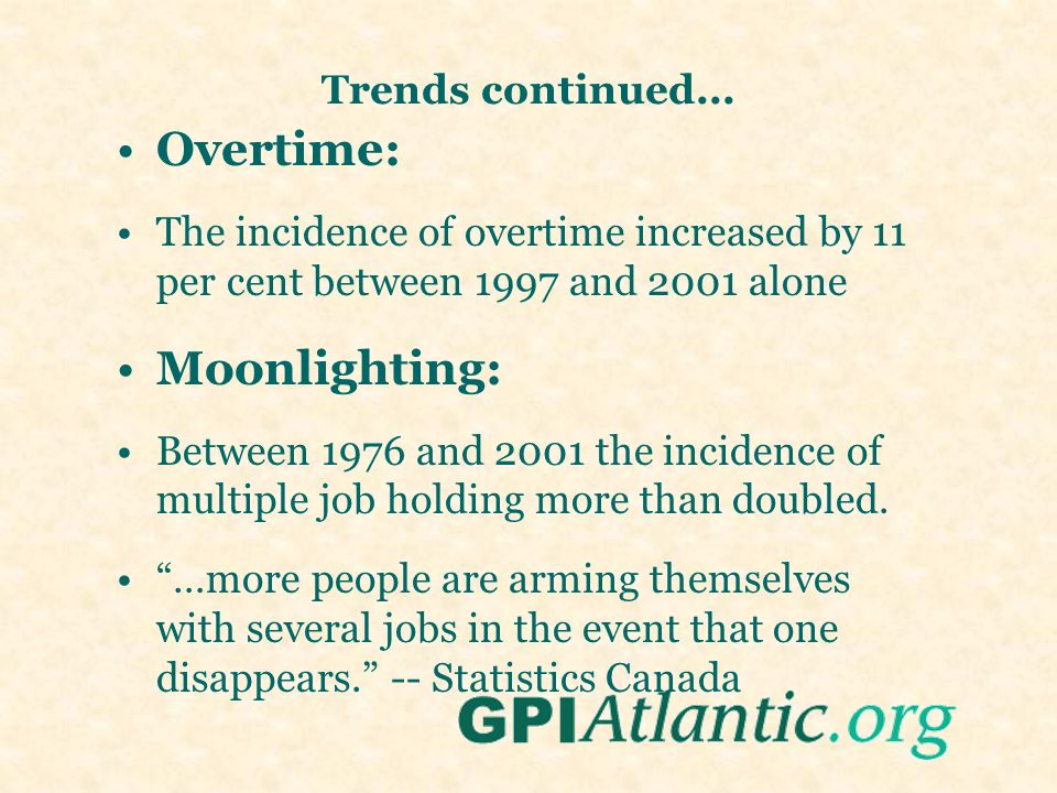 Trends continued... Overtime: The incidence of overtime increased by 11 per cent between 1997 and 2001 alone Moonlighting: Between 1976 and 2001 the i