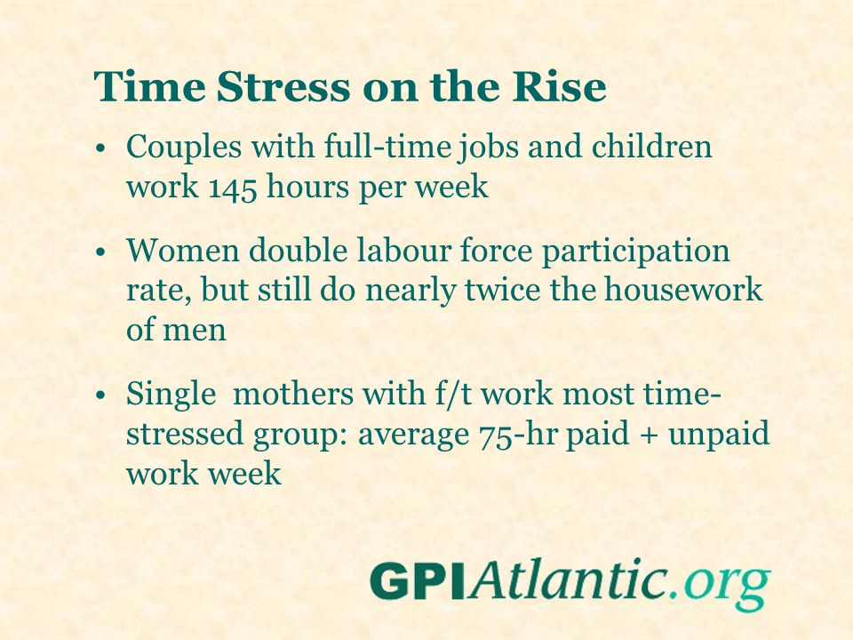 Time Stress on the Rise Couples with full-time jobs and children work 145 hours per week Women double labour force participation rate, but still do ne