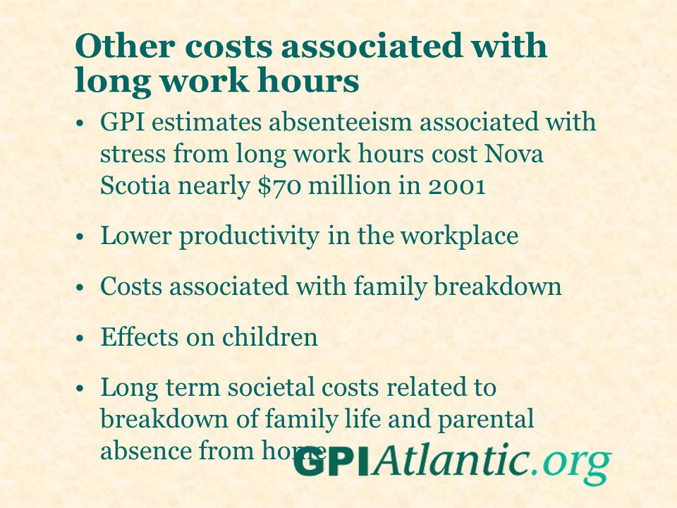 Other costs associated with long work hours GPI estimates absenteeism associated with stress from long work hours cost Nova Scotia nearly $70 million