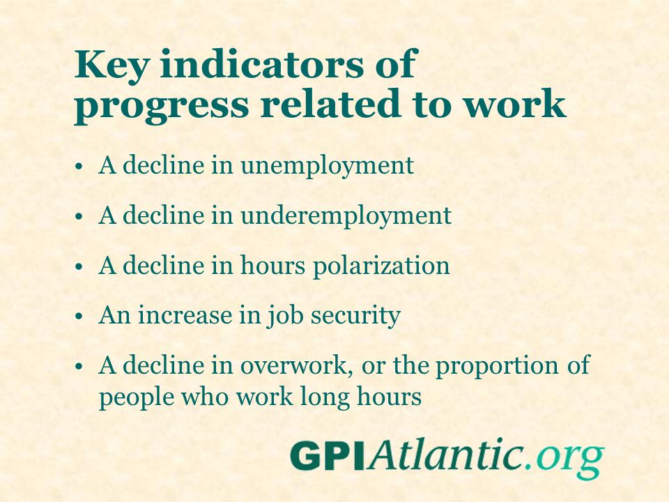 Key indicators of progress related to work A decline in unemployment A decline in underemployment A decline in hours polarization An increase in job s