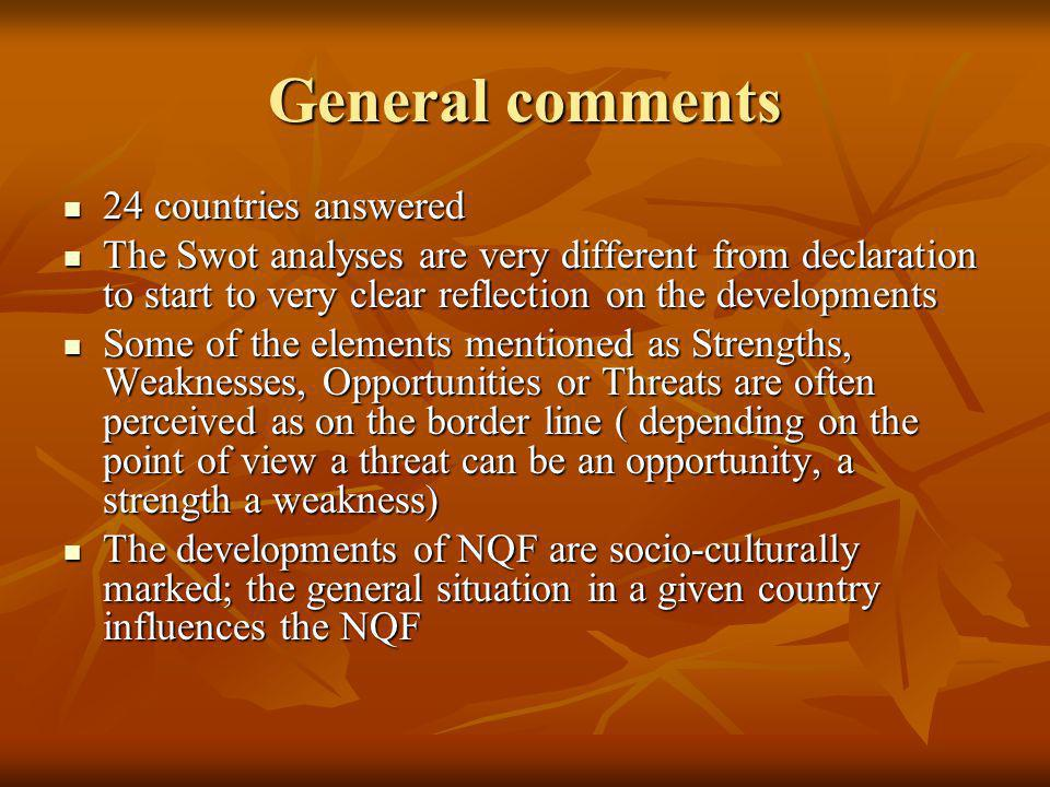 General comments 24 countries answered 24 countries answered The Swot analyses are very different from declaration to start to very clear reflection on the developments The Swot analyses are very different from declaration to start to very clear reflection on the developments Some of the elements mentioned as Strengths, Weaknesses, Opportunities or Threats are often perceived as on the border line ( depending on the point of view a threat can be an opportunity, a strength a weakness) Some of the elements mentioned as Strengths, Weaknesses, Opportunities or Threats are often perceived as on the border line ( depending on the point of view a threat can be an opportunity, a strength a weakness) The developments of NQF are socio-culturally marked; the general situation in a given country influences the NQF The developments of NQF are socio-culturally marked; the general situation in a given country influences the NQF