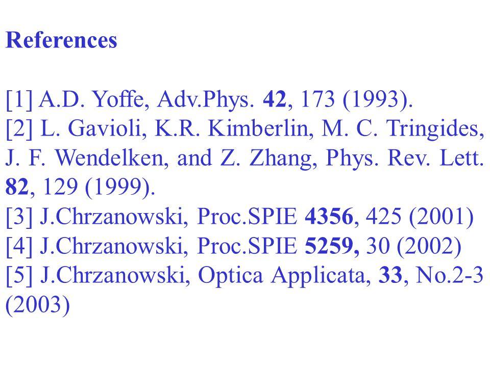 References [1] A.D.Yoffe, Adv.Phys. 42, 173 (1993).