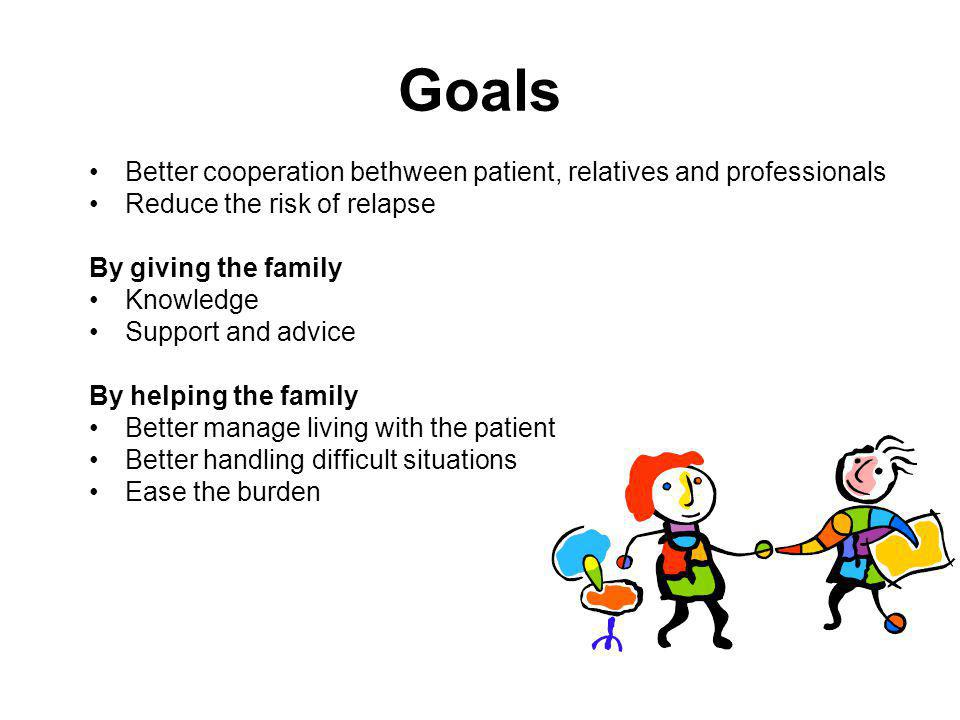 Goals Better cooperation bethween patient, relatives and professionals Reduce the risk of relapse By giving the family Knowledge Support and advice By helping the family Better manage living with the patient Better handling difficult situations Ease the burden