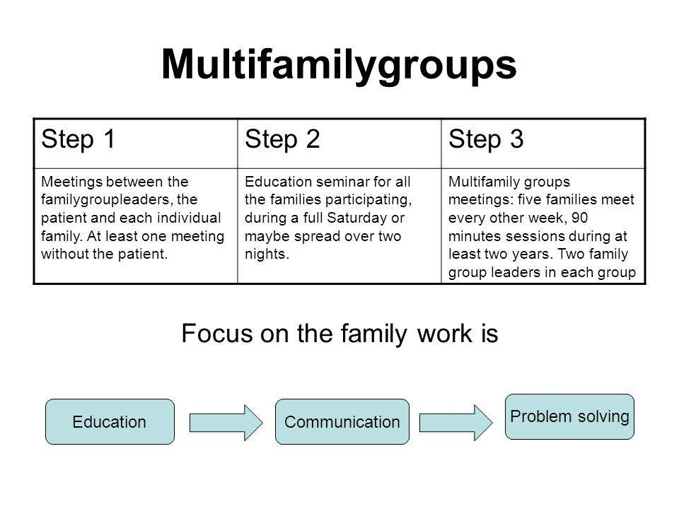 Step 1Step 2Step 3 Meetings between the familygroupleaders, the patient and each individual family.