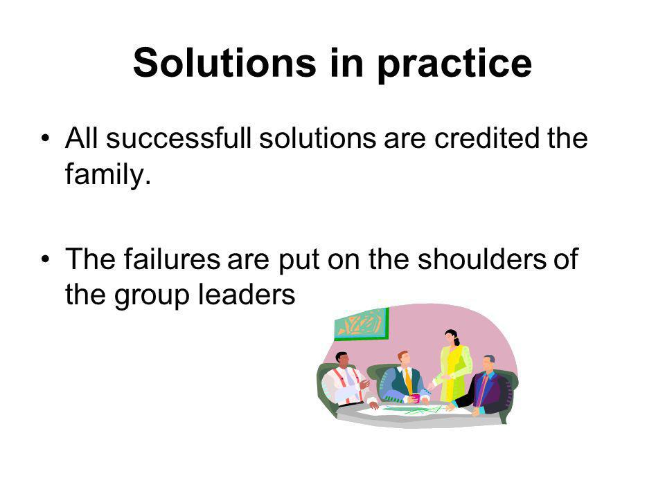Solutions in practice All successfull solutions are credited the family.